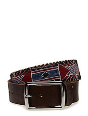 Nashoba Wide Beaded Belt - RED BONE