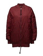 Cool Oversized Bomber - WINE RED