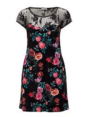 Kiki Dress - ROSE ON BLACK