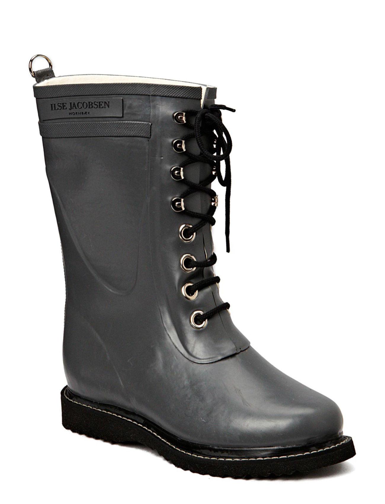 Rain Boot - Mid Calf, Classic With Laces Ilse Jacobsen Sko til Kvinder i Grå
