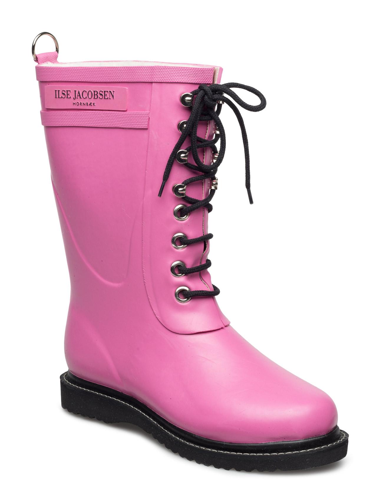 Rain Boot - Mid Calf, Classic With Laces Ilse Jacobsen Støvler til Damer i Lyserød