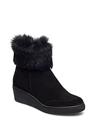 ANKLE BOOT W./FUR - BLACK