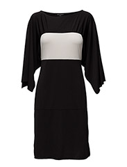 WOMENS CONTRAST COLOR DRESS - BLACK