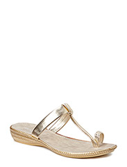 SANDAL WITH LOW HEEL - GOLD