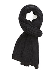 WOMENS KNITTED SCARF - BLACK