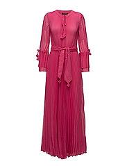 LONG PLEAT DRESS - PINK SORBET