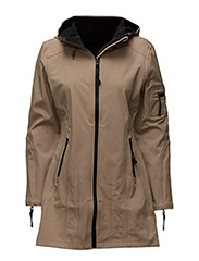 HIP-LENGTH SOFTSHELL RAINCOAT - BROWN
