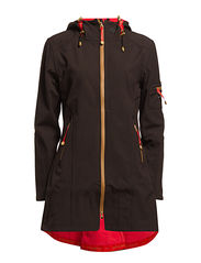HIP-LENGTH SOFTSHELL RAINCOAT, COLOUR BLOCK - Black Rasperry