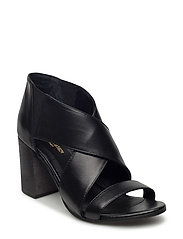 ELASTIC LEATHER SANDAL - BLACK