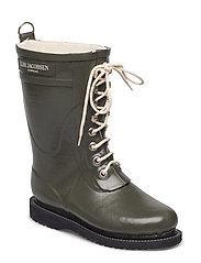 RAIN BOOT - MID CALF, CLASSIC WITH LACES - ARMY