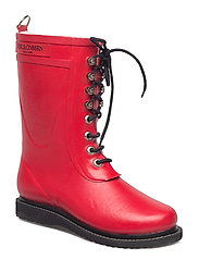 RAIN BOOT - MID CALF, CLASSIC WITH LACES - DEEP RED