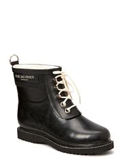 RAIN BOOT - ANKLE, CLASSIC WITH LACES - BLACK