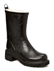 RAIN BOOTS - MID CALF WITH HIGH HEEL - BLACK