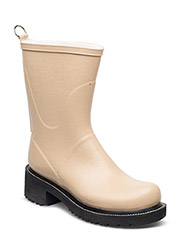 RAIN BOOTS - MID CALF WITH HIGH HEEL - CAMEL