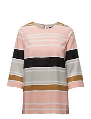 BLOUSE W STRIPES - CORAL PINK