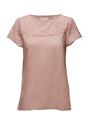 WOMENS LACE VOILE TOP - PALE PINK