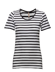 T-shirt s/s - BLACK MIX STRIPE