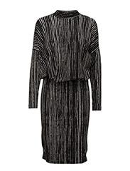 Yudit Dress KNTG - HAND DRAWN STRIPES BLACK