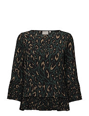 Mariann Blouse LW - BLURRY LEOPARD GREEN