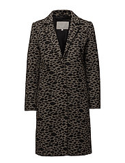 Lennon Coat OW - BEIGE AND BLACK