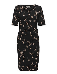 Tebina Cowl Dress - SIMPLIFIED FLOWER BLACK