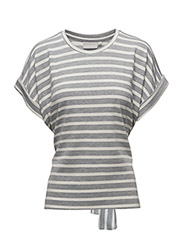 Thilda SS Top KNTG - GREY MELANGE / WHITE SMOKE