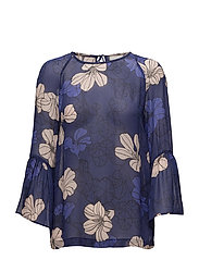 Begonia Blouse - SPRING FLOWERS ORIENT BLUE