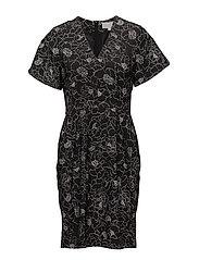 Beretta Short Dress LW - PENCIL FLOWER BLACK