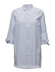 Breanna Long Shirt - YARN DYED BLUE STRIPES