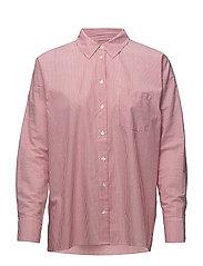 Breanna Short Shirt - RED AND WHITE STRIPE