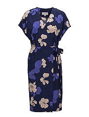 Begona Dress - SPRING FLOWERS ORIENT BLUE