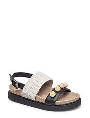 Sandal rafia pearl - BLACK