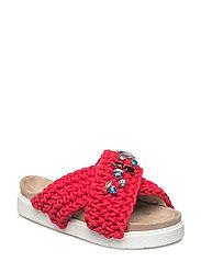 Slipper woven stones - RED