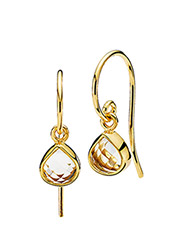 Fame Earrings - SHINY GOLD - WHITE TOPAZ