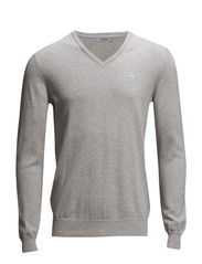 Melvin v-neck Fine Cotton - Lt Grey Melange