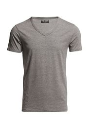 BASIC V-NECK TEE S/S NOOS - LIGHT GREY MELANGE