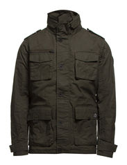 OIL SHORT PARKA JACKET - Forest Night