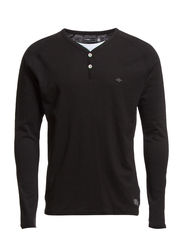 COBY TEE LS SPLIT NECK CORE NOOS - Black