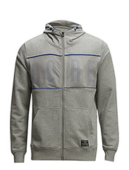 jjcoMARK SWEAT ZIP HOOD - CAMP - Light Grey Melange