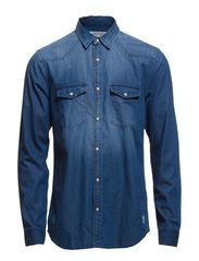 LEAD SHIRT TWO POCKET L/S NOOS - Dark Blue Denim