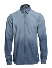 DUKE SHIRT TWO PLAIN  L/S - Light Blue Denim