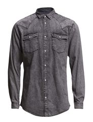 JJORMAN SHIRT TWO POCKET L/S - Light Grey Denim