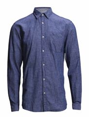 JJORBRIGHT SHIRT ONE POCKET L/S - Chambray Blue