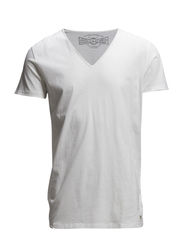 JJORWOLF TEE SS V-NECK NOOS - Cloud Dancer
