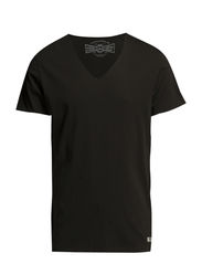 JJORWOLF TEE SS V-NECK NOOS - Pirate Black