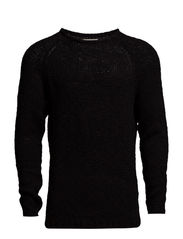 jjorTAPE KNIT CREWNECK - Black