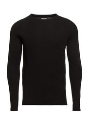 EZRA KNIT CREW NECK PR - Black
