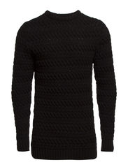 JJPRANTON SOLID KNIT CREW NECK - Black