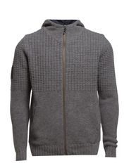BASCO KNIT ZIP HOOD E - Grey Melange