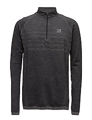 JJTMOW SEAMLESS 1/2 ZIP SWEAT - DARK GREY MELANGE